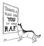 """(An Alsatian dog reads a poster """"There's a place for you in the RAF"""")"""