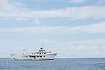 Cocos Island, Costa Rica; the live aboard dive boat ARGO, moored at Manuelita Island just off Cocos Island