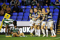 Rhys Priestland of Bath Rugby is congratulated on his try by team-mates. Aviva Premiership match, between London Irish and Bath Rugby on November 7, 2015 at the Madejski Stadium in Reading, England. Photo by: Patrick Khachfe / Onside Images