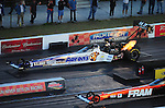 Jan. 20, 2012; Jupiter, FL, USA: Aerial view of NHRA top fuel dragster driver Antron Brown during testing at the PRO Winter Warmup at Palm Beach International Raceway. Mandatory Credit: Mark J. Rebilas-