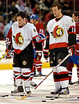 10 February 2007: Ottawa Senators center Mike Comrie (89) and center Jason Spezza (19) prepare to warm up prior to facing the Montreal Canadiens at the Bell Centre in Montreal, Canada. The Senators defeated the Canadiens 5-3 in front of a hometown sellout crowd of 21,273.