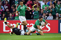 Rob Kearney of Ireland reaches for the try-line. Rugby World Cup Pool D match between Ireland and Romania on September 27, 2015 at Wembley Stadium in London, England. Photo by: Patrick Khachfe / Onside Images