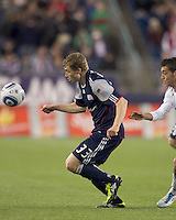 New England Revolution midfielder Zak Boggs (33) tracks the ball. In a Major League Soccer (MLS) match, the New England Revolution defeated the Vancouver Whitecaps FC, 1-0, at Gillette Stadium on May14, 2011.