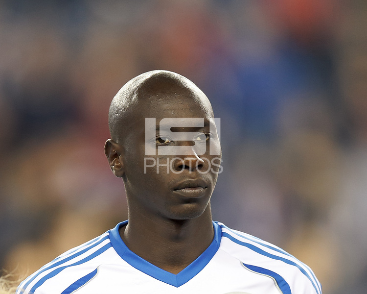 Montreal Impact defender Hassoun Camara (6). In a Major League Soccer (MLS) match, Montreal Impact (white/blue) defeated the New England Revolution (dark blue), 4-2, at Gillette Stadium on September 8, 2013.