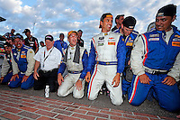Joao Barbosa, Christian Fittipaldi celebrate their win at the Brickyard Grand Prix, Indianapolis Motor Speedway, Indianapolis, Indiana, July 2014.  (Photo by Brian Cleary/www.bcpix.com)