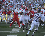 Jacksonville State offensive lineman Chris Nesbitt (52)  and Jacksonville State offensive lineman Tori Mobley (69)  celebrate their win at Vaught-Hemingway Stadium in Oxford, Miss. on Saturday, September 4, 2010. Jacksonville State won 49-48 in double overtime.