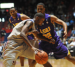 "Mississippi's Terrance Henry (1) works against LSU's Ralston Turner (22) at the C.M. ""Tad"" Smith Coliseum in Oxford, Miss. on Saturday, February 25, 2012. (AP Photo/Oxford Eagle, Bruce Newman).."
