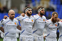 Julian Salvi, Don Armand, Geoff Parling and James Short look on prior to the match. Aviva Premiership match, between London Irish and Exeter Chiefs on February 21, 2016 at the Madejski Stadium in Reading, England. Photo by: Patrick Khachfe / JMP
