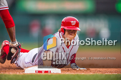 28 April 2016: Washington Nationals outfielder Matt den Dekker dives safely back to first in the 6th inning against the Philadelphia Phillies at Nationals Park in Washington, DC. The Phillies shut out the Nationals 3-0 to sweep their mid-week, 3-game series. Mandatory Credit: Ed Wolfstein Photo *** RAW (NEF) Image File Available ***