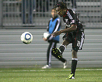 Joseph Ngwenya(11) of D.C. United takes a shot  during a play-in game for the US Open Cup tournament against the Philadelphia Union at Maryland Sportsplex, in Boyds, Maryland on April 6 2011. D.C. United won 3-2 after overtime penalty kicks.