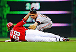 1 May 2011: San Francisco Giants infielder Freddy Sanchez gets Washington Nationals outfielder Jayson Werth out at second during a game at Nationals Park in Washington, District of Columbia. The Nationals defeated the Giants 5-2. Mandatory Credit: Ed Wolfstein Photo