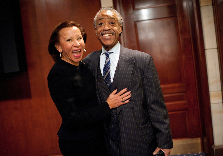 UNITED STATES - FEBRUARY 16:  Rev. Al Sharpton, president of National Action Network, and Rep. Nydia Velázquez, D-N.Y., prepare for a news conference with members of Congress in the Capitol Visitor Center on voter suppression and the upcoming march from Selma to Montgomery to commemorate the 1965 voting rights march that followed the same path. (Photo By Tom Williams/CQ Roll Call)