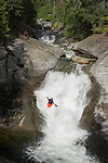 Extreme Kayaking Plastic surgery rapids on South Silver creek near Kyberz just off highway 50 south of Lake Tahoe, Ca.