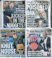The New York tabloids, both front and rear covers, on Saturday, February 11, 2017 report on the altercation the former Knicks basketball player Charles Oakley had with Madison Square Garden security related to problems with MSG and Knicks owner James Dolan.  (© Richard B. Levine)