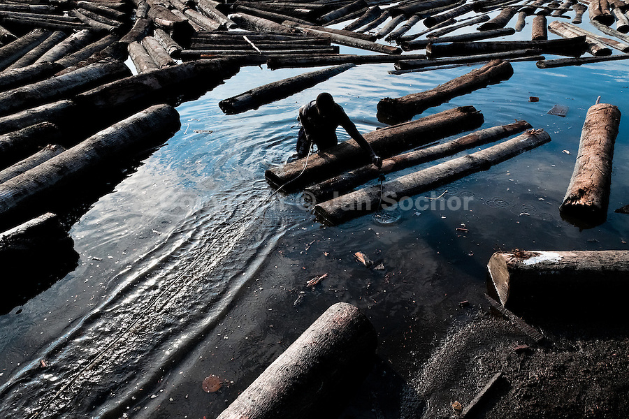 A Colombian sawmill worker push the logs, floating in the water, in a bay close to Tumaco, Colombia, 11 June 2010. Tens of sawmills located on the banks of the Pacific jungle rivers generate almost half of the Colombia's wood production. The wood species processed here (sajo, machare, roble, guabo, cargadero y pacora) are mostly used in the construction industry and the paper production. Although the Pacific lush rainforest in Colombia is one of the most biodiverse area of the world, the region suffers an extensive deforestation due to the uncontrolled logging in the last years.