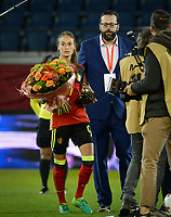 20170411 - LEUVEN ,  BELGIUM : Belgian Tessa Wullaert pictured receiving her Golden Boot / Gouden Schoen prior the friendly female soccer game between the Belgian Red Flames and Scotland , a friendly game in the preparation for the European Championship in The Netherlands 2017  , Tuesday 11 th April 2017 at Stadion Den Dreef  in Leuven , Belgium. PHOTO SPORTPIX.BE   DAVID CATRY
