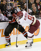 Mike Hewkin (Northeastern - 28), Barry Almeida (BC - 9) - The Boston College Eagles defeated the Northeastern University Huskies 5-4 in their Hockey East Semi-Final on Friday, March 18, 2011, at TD Garden in Boston, Massachusetts.