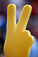 28 February 2010: Fight on trojan foam finger waving by fans during the USC Trojans Baseball team during the first annual Dodgertown Classic at Dodger Stadium at Chavez Ravine. A college baseball round robin tournament sponsored by the MLB Los Angeles Dodgers. 14,588 were in attendance to watch the UCLA Bruins defeat the USC Trojans 6-1 on a sunny afternoon in Southern California.