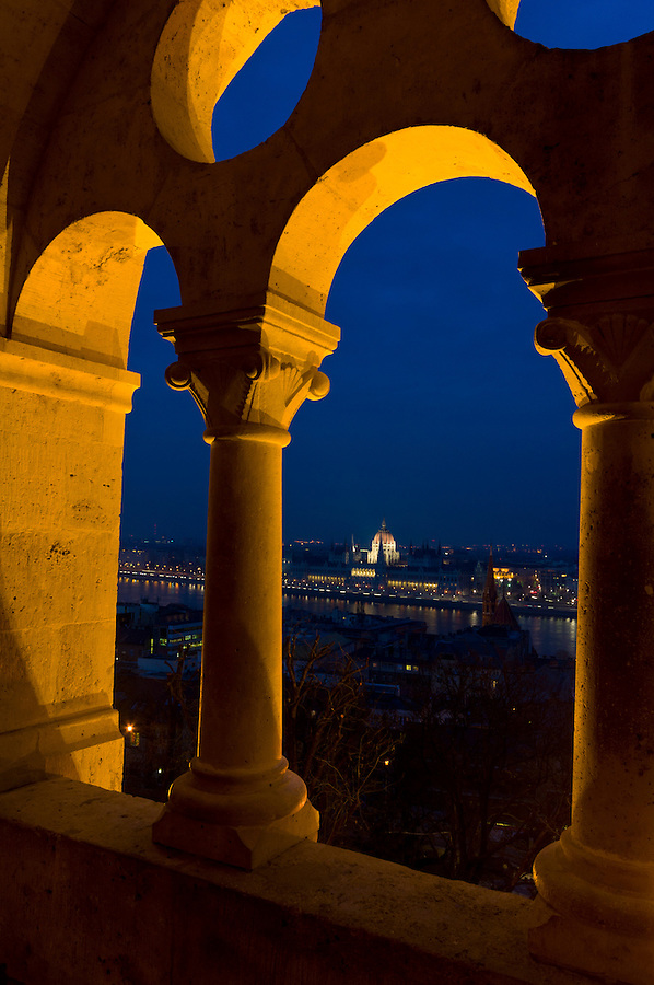 View of the Budapest Parlament from the arches at Fishermen's Bastion at dusk.