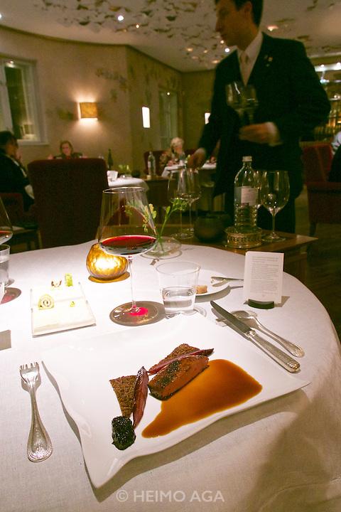 Vienna, Austria. The &quot;Steirereck&quot; with award winning Chef Heinz Reitbauer Junior is probably Vienna's best restaurant.<br /> Rehbock mit Gew&uuml;rz-Preiselbeeren, Quitten, Pastinaken &amp; Pistazien (Venison with Spiced Lingonberries, Quince, Parsnip and Pistachioes.)