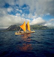 Polynesian voyaging canoe Hokule'a, off the coast of Windward O'ahu, lead by master navigator Nainoa Thompson, circa 1997.