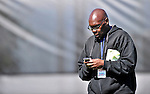 28 February 2010: MLB.com reporter Bill Ladson covering the Washington Nationals checks messages on his digital communication assistant during Spring Training at the Carl Barger Baseball Complex in Viera, Florida. Mandatory Credit: Ed Wolfstein Photo