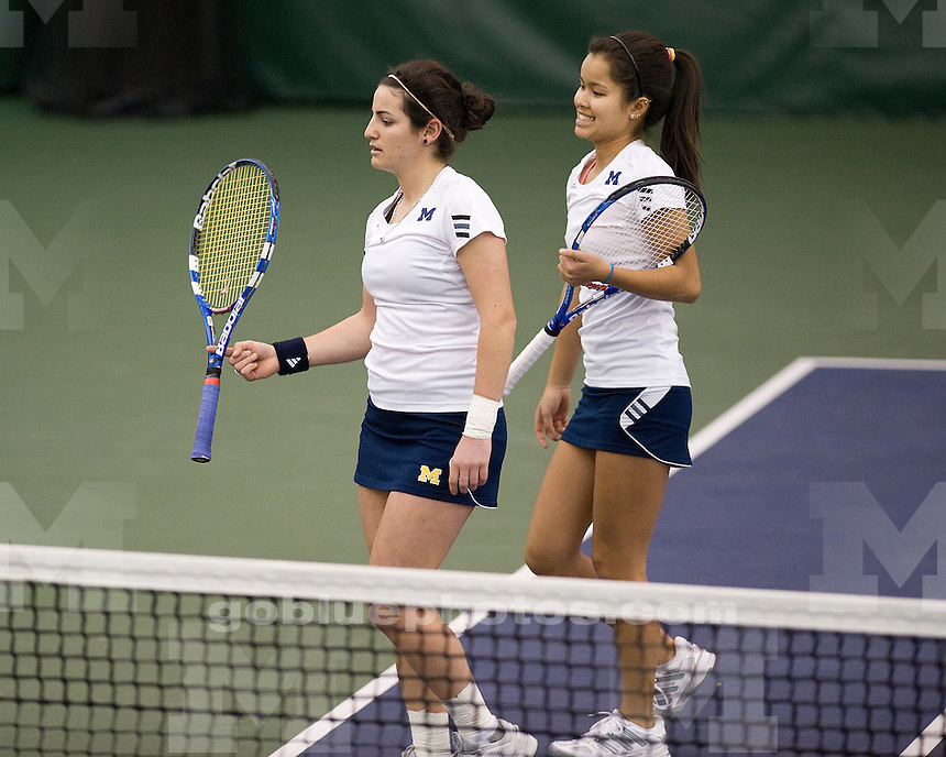University of Michigan women's tennis team beat Maryland 5-2 at the UM Varsity Tennis Center in AnnArbor, Mich., on January 28, 2012.