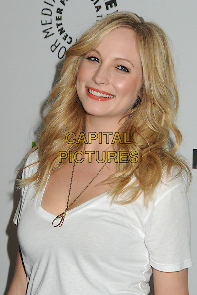 "Candice Accola.PaleyFest 2012 Presents ""The Vampire Diaries"" held at the Saban Theatre. Beverly Hills, California, USA, .10th March 2012.portrait headshot white t-shirt smiling gold necklace .CAP/ADM/BP.©Byron Purvis/AdMedia/Capital Pictures."
