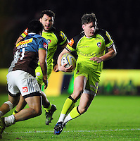 Freddie Burns of Leicester Tigers goes on the attack. Aviva Premiership match, between Harlequins and Leicester Tigers on February 24, 2017 at the Twickenham Stoop in London, England. Photo by: Patrick Khachfe / JMP
