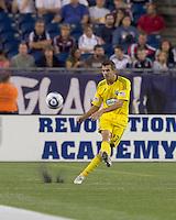 Columbus Crew defender Eric Brunner (23) passes the ball. The New England Revolution tied Columbus Crew, 2-2, at Gillette Stadium on September 25, 2010.