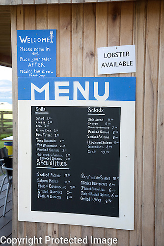 Menu, Seafood Cabin Skipness, Kintyre, Scotland