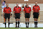 30 August 2009: Match Officials. From left: Assistant Referee Saeed Mohamed, Referee Steve Taylor, Fourth Official Dan Dunbar, Assistant Referee Ken George. The Duke University Blue Devils lost 3-2 to the University of Central Florida Knights at Fetzer Field in Chapel Hill, North Carolina in an NCAA Division I Women's college soccer game.