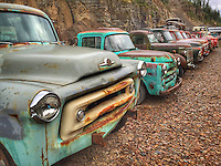 Line em up! Gravel pit rusty trucks<br />