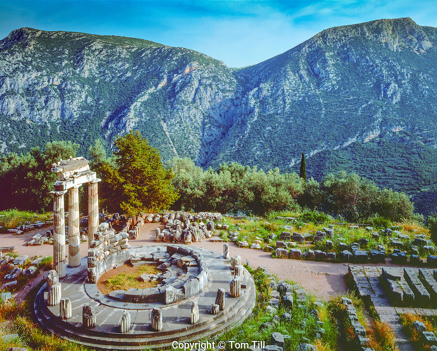 Sanctuary of Athena, Delphi, Greece, Tholos, 4th century marble ruin, most sacred site of Greek antiquity, home of the oracle, May