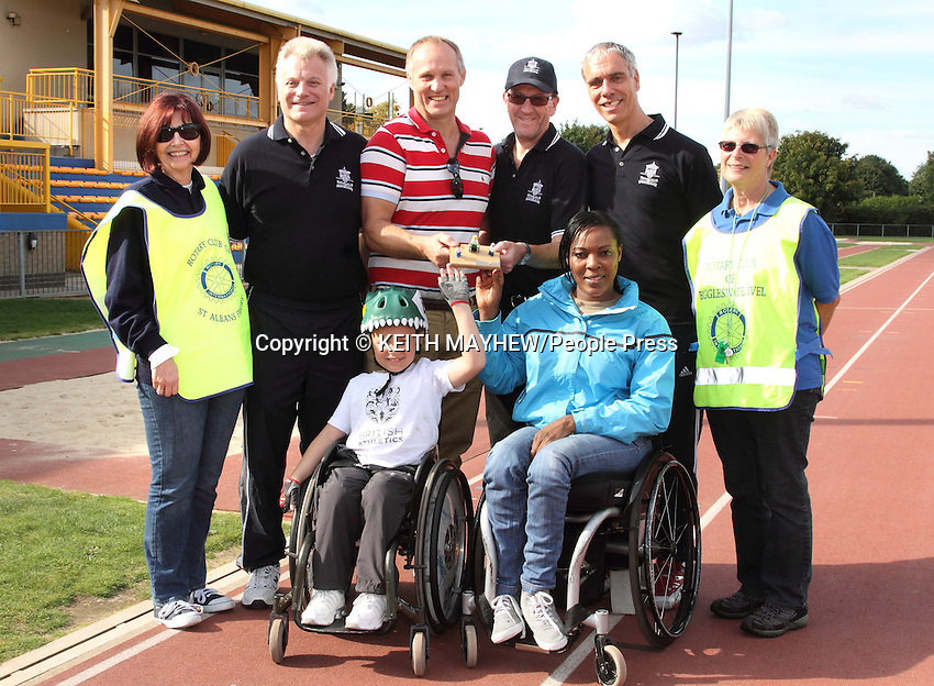 Rotary Club 'Wheelchair Challenge' in support of 'Whizz Kids' and 'Wheel Power' charities at the Bedford International Stadium, Bedford - October 6th 2013<br /> <br /> Photo by Keith Mayhew