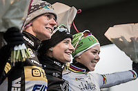 Smiles on the podium: ever since returning to cyclocross (after 2 years of not participating) Marianne Vos (NED/WM3) is back to her winning habits after only a few races<br /> <br />  GP Sven Nys 2017
