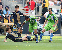 Stefani Miglioranzi #6 of the Philadelphia Union slides the ball away from James Riley #7 of the Seattle Sounders FC during the first MLS match at PPL stadium in Chester, PA. on June 27 2010. Union won 3-1.