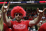 27 November 2015: An NC State fan. The North Carolina State University of North Carolina Wolfpack hosted the Winthrop University Eagles at the PNC Arena in Raleigh, North Carolina in a 2015-16 NCAA Division I Men's Basketball game. NC State won the game 87-79.