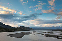 View of the Copper river at sunset near Chitina, southcentral, Alaska