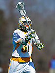 19 March 2011: University of Vermont Catamount F/O Tom Frasca, a Senior from Medfield, MA, in action against the St. John's University Red Storm at Moulton Winder Field in Burlington, Vermont. The Catamounts defeated the visiting Red Storm 14-9. Mandatory Credit: Ed Wolfstein Photo
