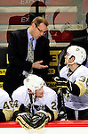 6 February 2010: Pittsburgh Penguins' Head Coach Dan Bylsma discusses a play with center Mark Letestu on the bench during a game against the Montreal Canadiens at the Bell Centre in Montreal, Quebec, Canada. The Canadiens defeated the Penguins 5-3. Mandatory Credit: Ed Wolfstein Photo