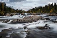 River rapids flowing near STF Kvikkjokk Fjällstation, Kungsleden trail, Lapland, Sweden