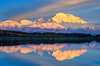 20, 3020+ ft. Mt. McKinley (locally called Denali) reflection pond, sunset, Denali National Park, Alaska