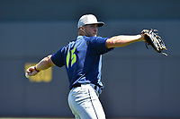 Outfielder Tim Tebow (15) of the Columbia Fireflies during the team's first workout of the season on Sunday, April 2, 2017, at Spirit Communications Park in Columbia, South Carolina. (Tom Priddy/Four Seam Images)