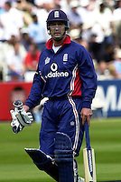 .29/06/2002.Sport - Cricket - .NatWest triangler Series England - Sri Lanka - India.England vs india 50 overs.  Lord's ground.England batting -   Graham Thorpe, returns to the Pavilion..