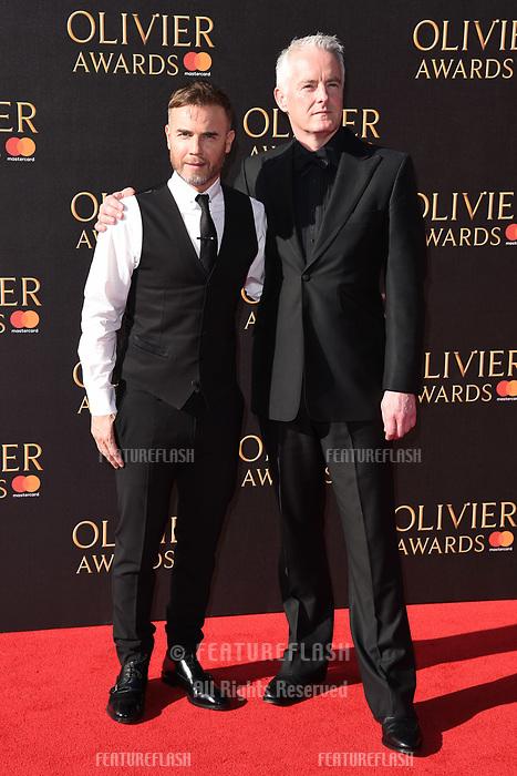 Gary Barlow &amp; Tim Firth at The Olivier Awards 2017 at the Royal Albert Hall, London, UK. <br /> 09 April  2017<br /> Picture: Steve Vas/Featureflash/SilverHub 0208 004 5359 sales@silverhubmedia.com