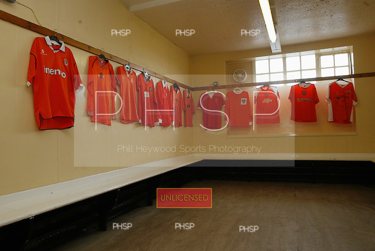 --/11/2003 South Paddock-Ground..Home dressing room with variety of old shirts...