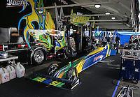 Feb. 24, 2013; Chandler, AZ, USA; NHRA pit area of top fuel dragster driver Sidnei Frigo during the Arizona Nationals at Firebird International Raceway. Mandatory Credit: Mark J. Rebilas-