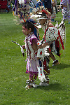 WY: Wyoming, Cody: Dancing at Plains Indian June Powwow...Photo #: yellow581..Photo copyright Lee Foster, 510/549-2202, lee@fostertravel.com, www.fostertravel.com..
