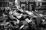 Winter of Discontent London. Rubbish piles up in the streets of the west end London. Bin men strike 1979.